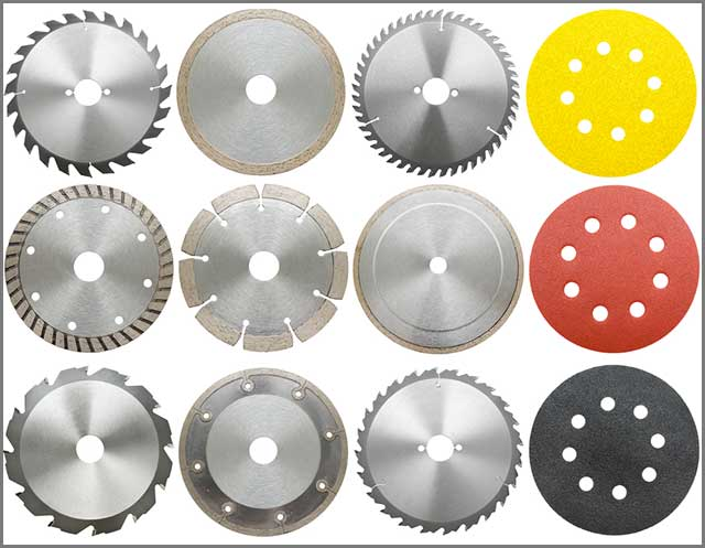 Top view of the various types of the circular saw blade; standard, abrasive, and diamond.