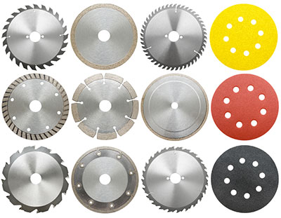 Different types of circular saw blades for cutting different materials.