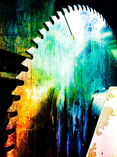 Image of a colorful custom cutting blade
