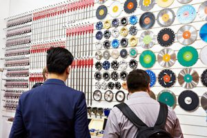 Customers looking at a saw blade display