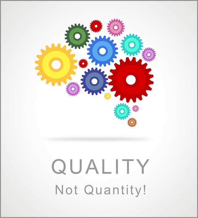 An Image illustrating product quality over quantity