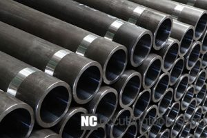 Steel pipes on a black and white background