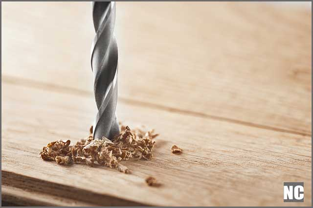 A drill bit drilling wooden application