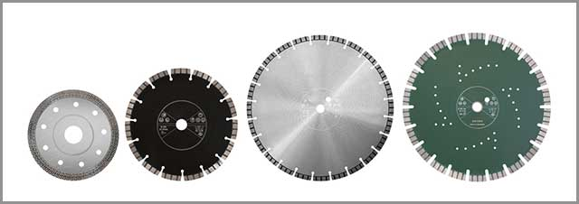 Picture showing different types of diamond saw blades