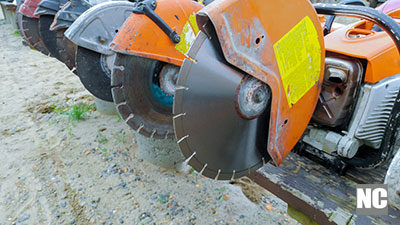 Profile on the blade of an asphalt or concrete cutter