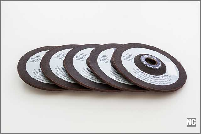Grinding wheels on a white background