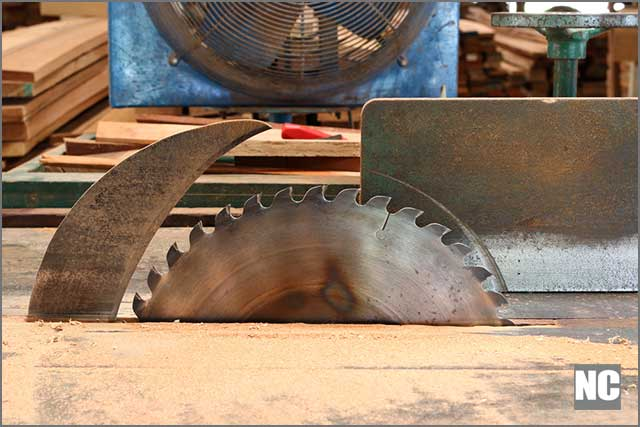 A close view of a table saw