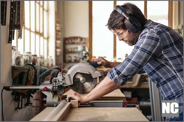 Worker safely using custom saw blade