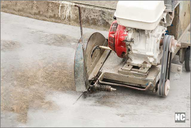 This is a diamond blade road saw for indoor and outdoor use
