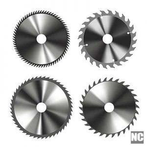 Set of a circular cold saw blade used for metal cutting.