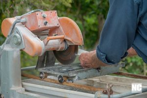 Wet saw in action.