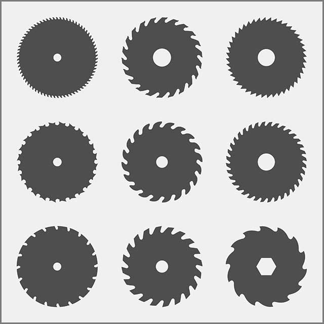 Carbide slitting saw showing several teeth geometry