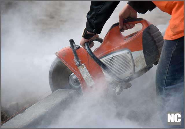 Wet concrete saws help to reduce dust generated by cutting