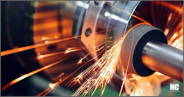 Sparks flying while machine grinding
