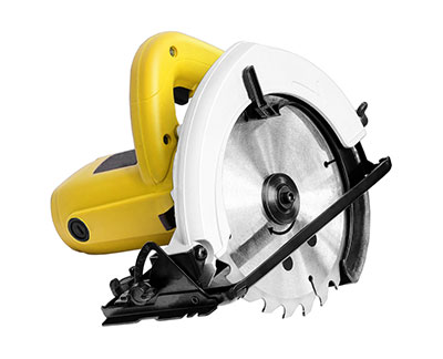 A new circular saw showing metal blade