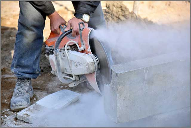 Cutting concrete closeup