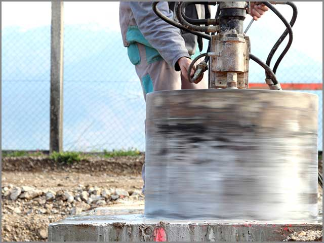 Drilling a big hole with the use of a large core bore bit