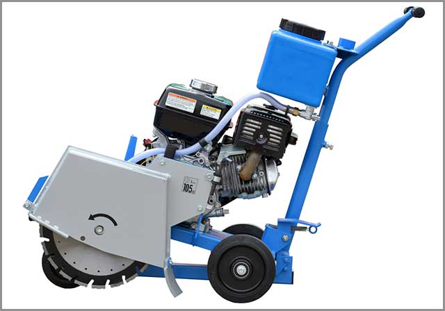 A brand new walk-behind saw showing the internal combustion engine.