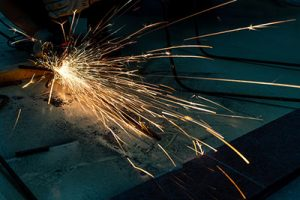 A metal grinding wheel in action