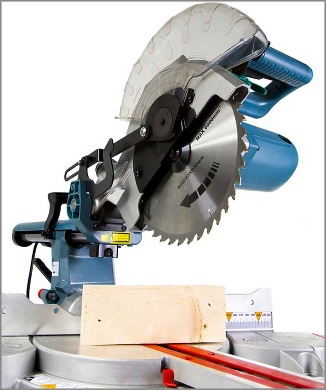 A miter saw in white background with a crosscut timber