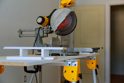 A miter saw on a construction site – close up