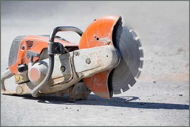A grinder at a construction site
