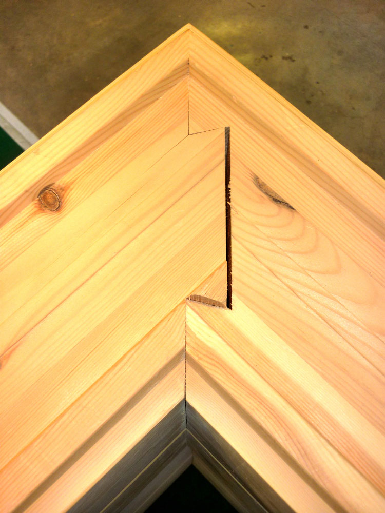 A secret miter dovetail joint is in use