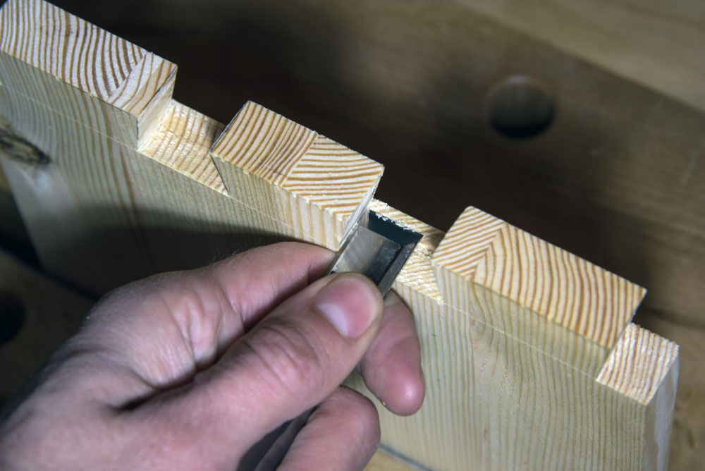 The pins of the dovetail