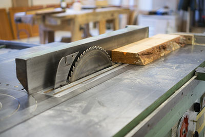 A table saw in a workshop
