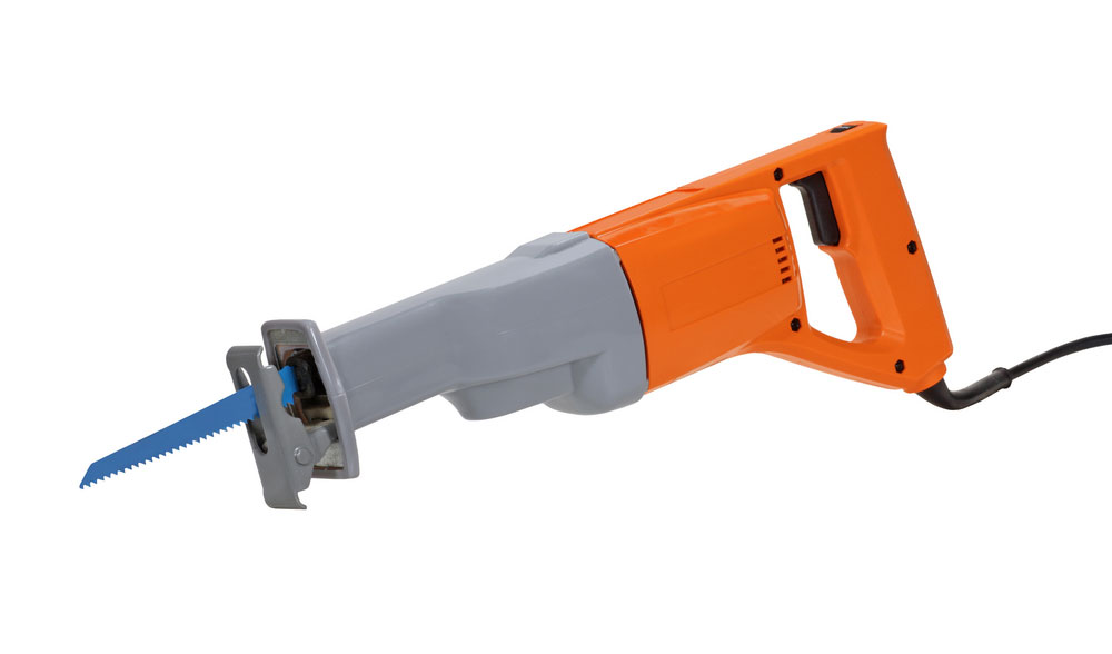 A corded reciprocating saw