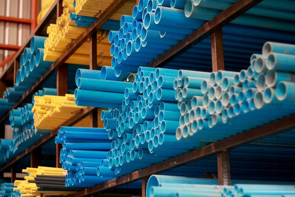 PVC pipes in the store